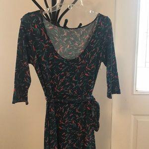 Leota reversible multi color belted dress